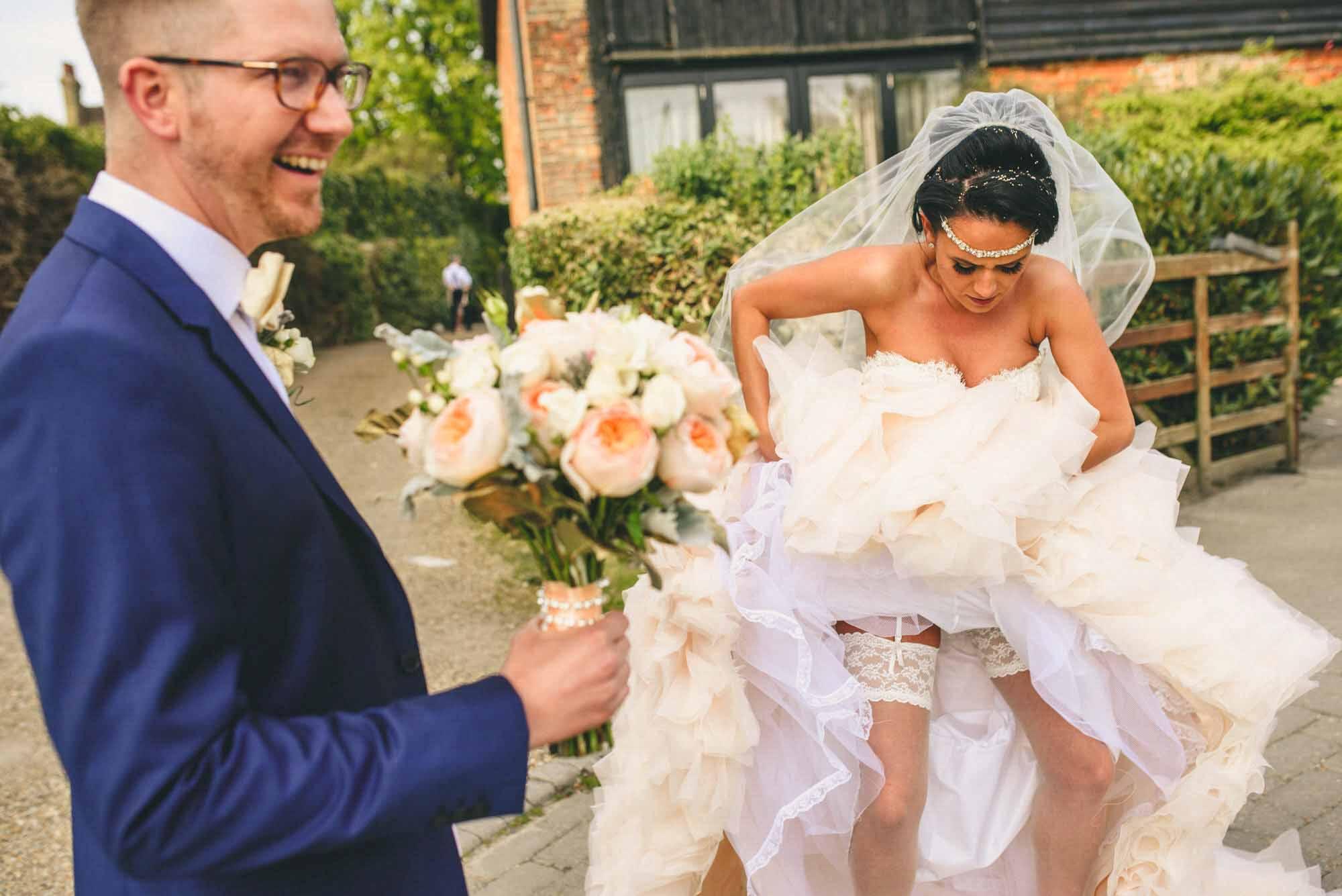 Lazaro bride with lace garter Rochester wedding