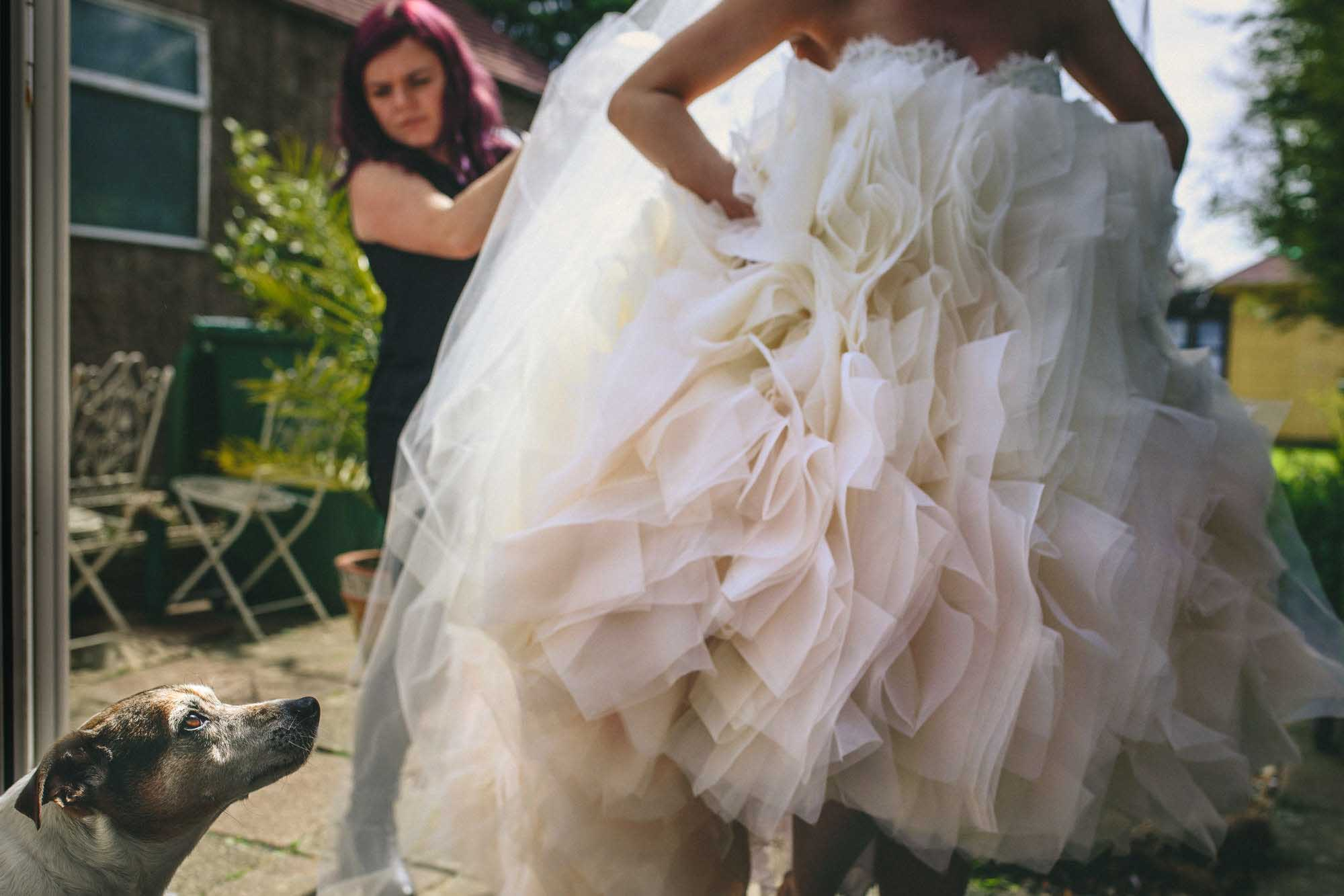 Lazaro bride during bridal preparations Rochester wedding