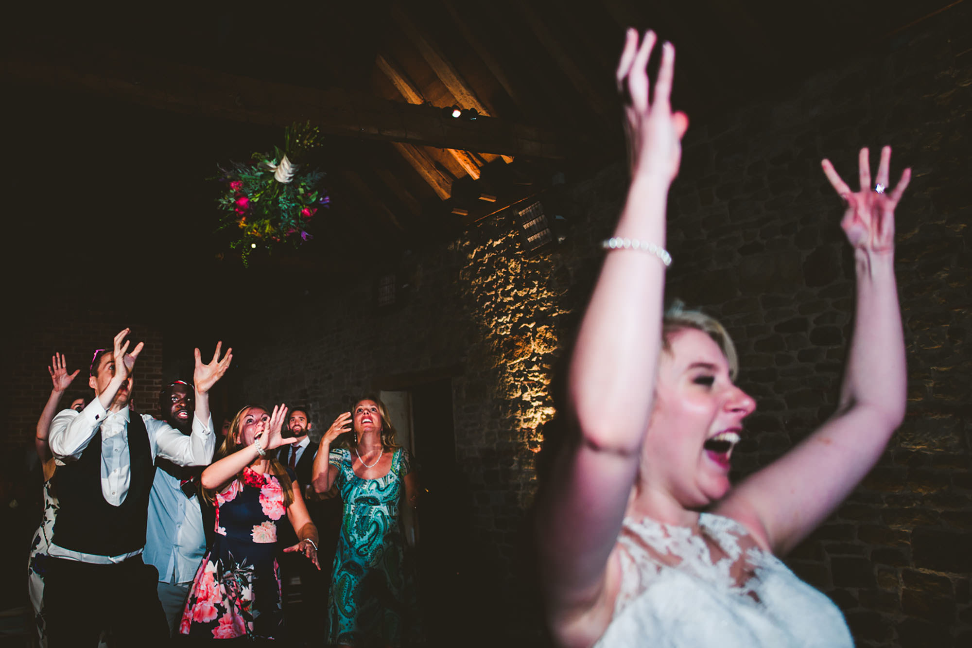 Bouquet Toss at Grittenham Barn